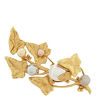 Leaf and Pearl Brooch