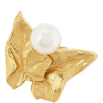 Leaf and Pearl Ring