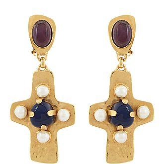 Stone Cross Drop Earrings