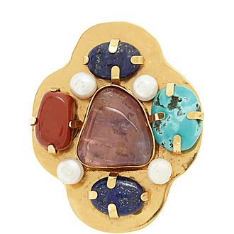 Stone and Pearl Brooch