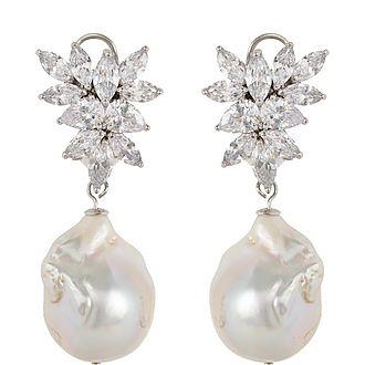 Baroque Stone Pearl Drop Earrings