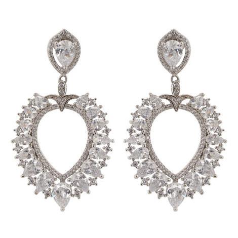 Stone Embellished Pear Chandelier Earrings, ${color}
