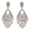 Stone Cluster Chandelier Earrings, ${color}