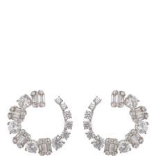 Stone Baguette Hoop Earrings