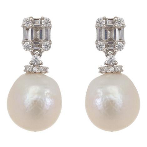 Stone Pearl Drop Earrings, ${color}