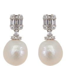 Stone Pearl Drop Earrings