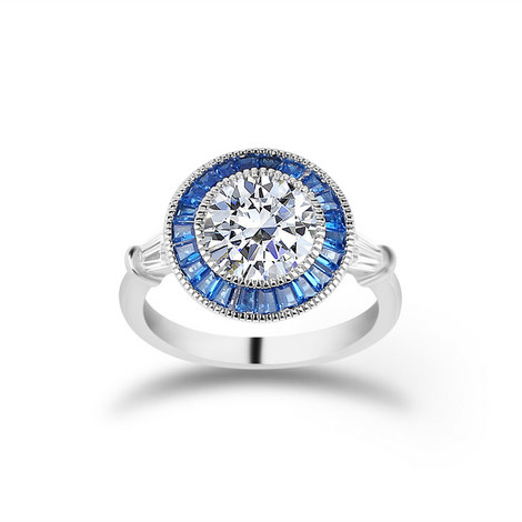 Halo Baguette Ring, ${color}