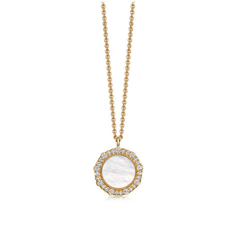 Mother of Pearl Luna Pendant Necklace, ${color}