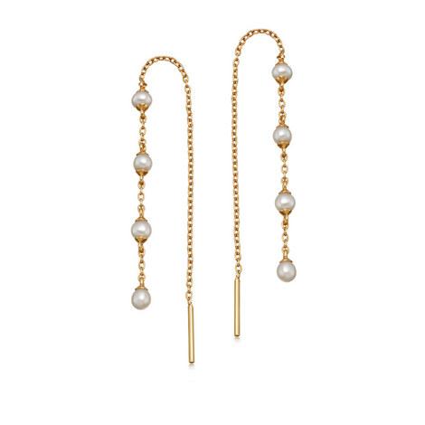 Stilla Pearl Chain Earrings, ${color}