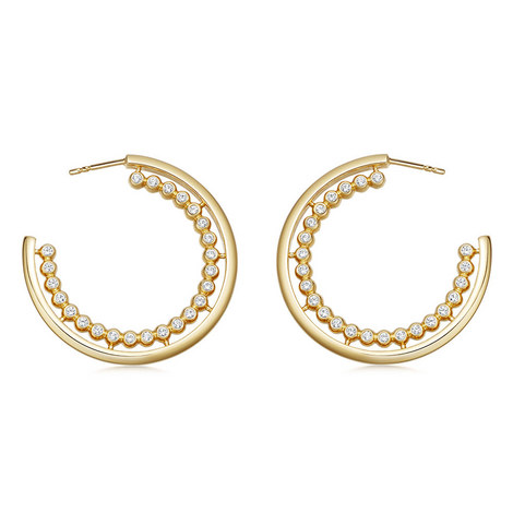 Stilla Arc Sapphire Hoop Earrings, ${color}