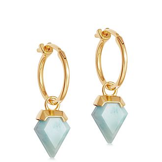 Larimar Mini Shield Hinged Hoop Earrings