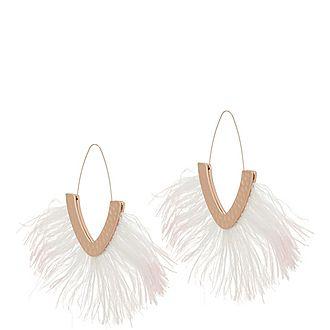Fringed Feather Drop Earrings
