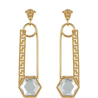 Crystal-Embellished Safety Pin Drop Earrings