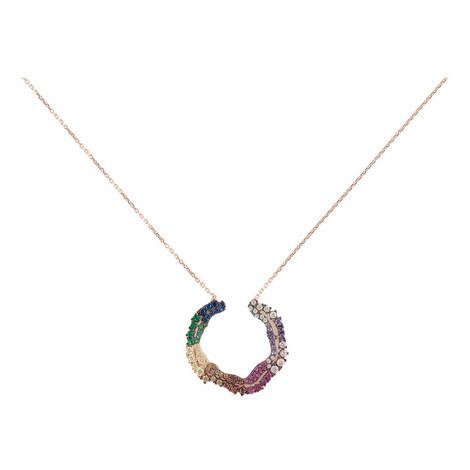 Dia Open Circle Pendant Necklace, ${color}
