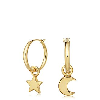 Star Moon Charm Earrings