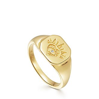 Open Heart Signet Ring