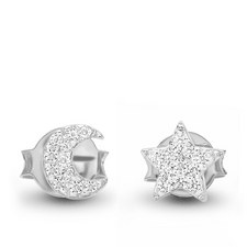 Pavé Moon Star Earrings