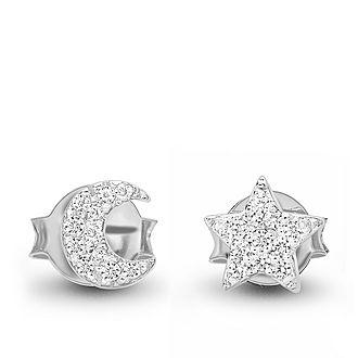 Pavé Moon Star Earrings