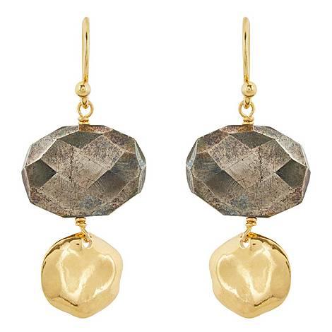 Pyrite Drop Earrings, ${color}