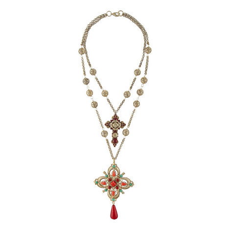 Double Layer Cross Necklace, ${color}