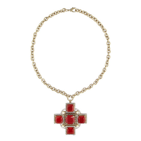 Beaded Cross Necklace, ${color}