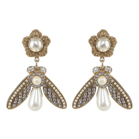 Pearl Bee Drop Earrings, ${color}