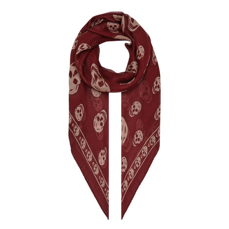 Skull Print Silk-Chiffon Scarf, ${color}