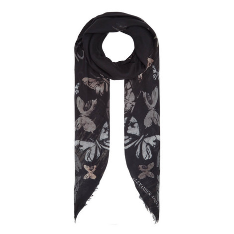 Butterfly Print Silk Scarf, ${color}