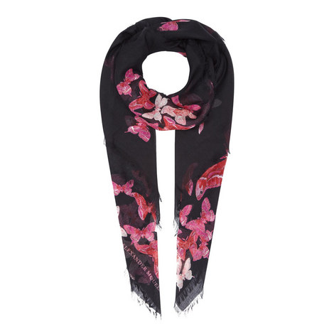 Butterfly Print Silk Mix Scarf, ${color}