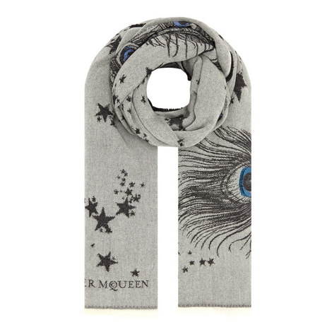 Peacock and Star Wool Scarf, ${color}