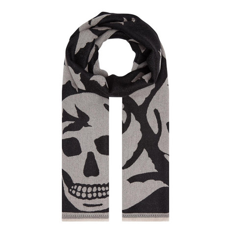 Skull Print Wool Scarf, ${color}