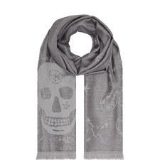 Skull Print Wool Scarf