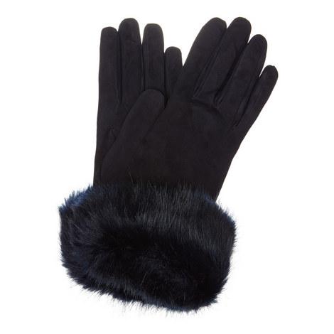 Faux Fur Cuff Suede Gloves, ${color}