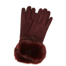 Faux Fur Cuff Suede Gloves