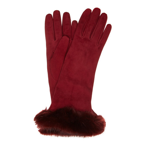 Faux Fur Cuff Suede Gloves, ${color}