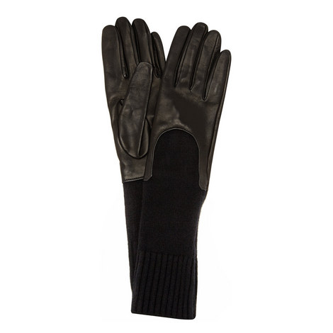 Cashmere-Trimmed Leather Gloves, ${color}