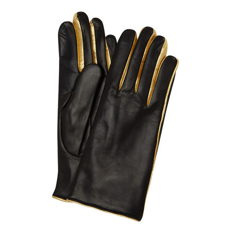 Metallic-Trimmed Leather Gloves, ${color}