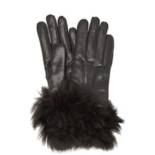 Shearling Cuff Leather Gloves