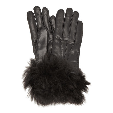 Shearling Cuff Leather Gloves, ${color}