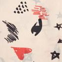 Doodle Print Silk Scarf, ${color}