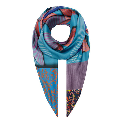 Ribbon Print Silk Scarf, ${color}