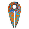 Mixed Print Silk Scarf, ${color}