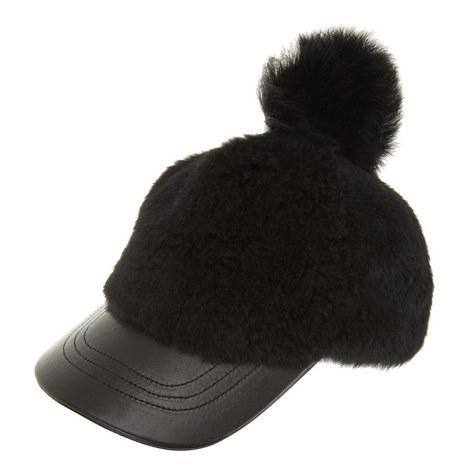 Pom Pom Lambskin Cap, ${color}