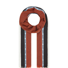 Striped Logo Border Cashmere-Silk Scarf