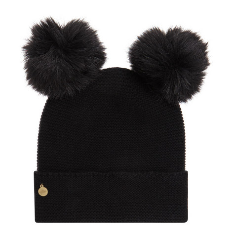 Cashmere Double Pom Pom Beanie Hat, ${color}