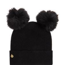 Cashmere Double Pom Pom Beanie Hat