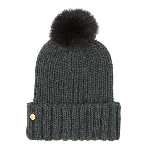 Faux Fur Pom Pom Hat, ${color}