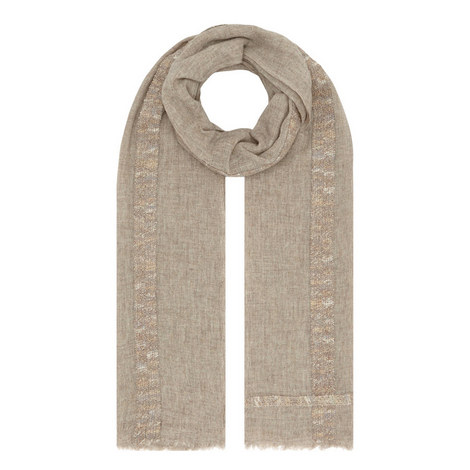 Chenille Stripe Trim Scarf, ${color}