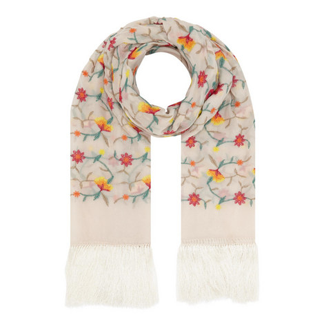 Ramaged Embroidered Floral Scarf , ${color}