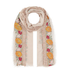Rugiadac Embroidered Silk Trim Scarf